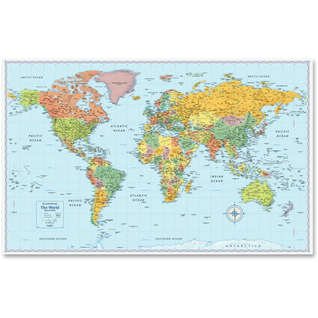 Rand McNally M-Series Full-Color World Map, 50 x (World Relief Map)