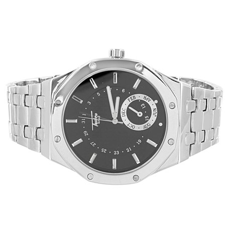 Men's Silver Tone Techno Pave Link Watch Chrome Finish Steel