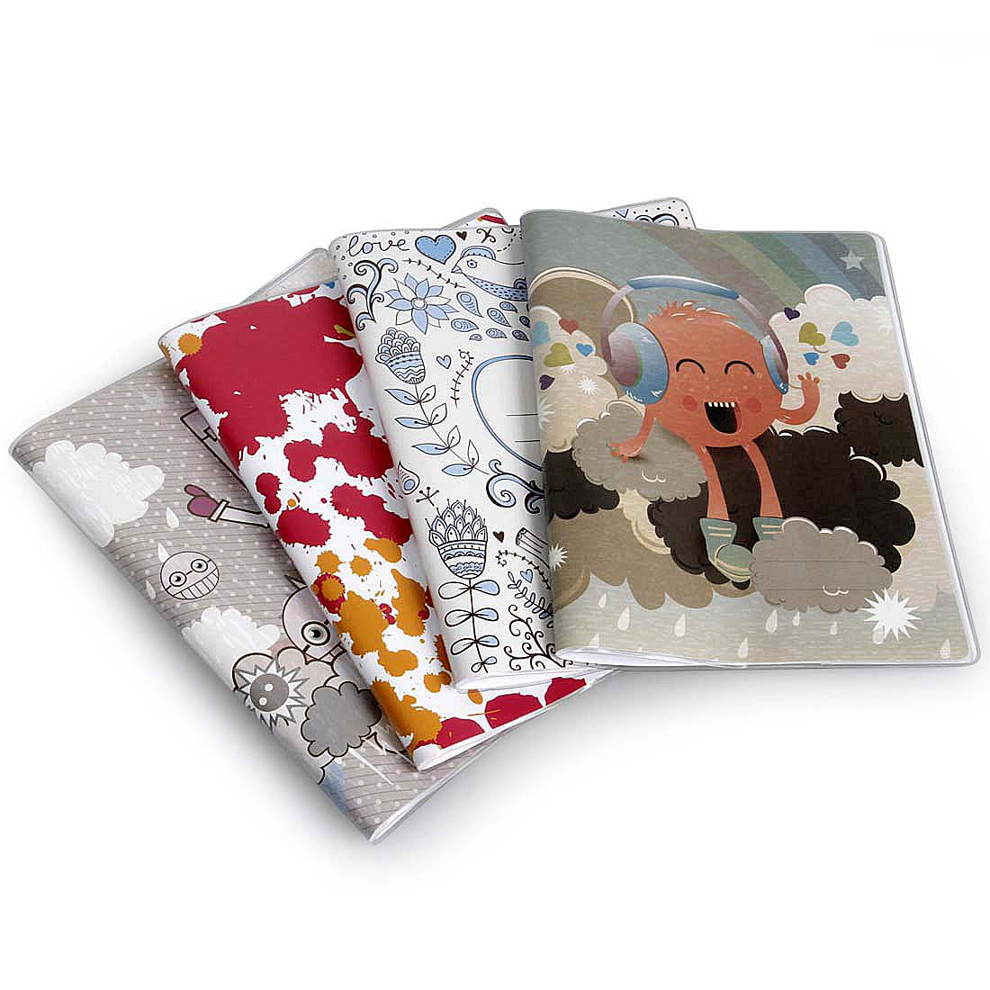 Bundle Monster 4pc Mixed Design Plastic Sleeve Composition Book Covers Set