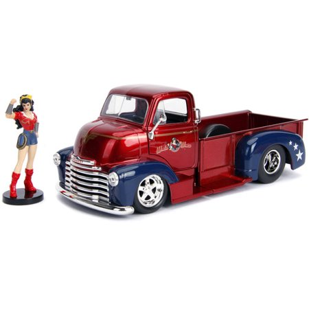 DC Comics Bombshells Wonder Woman & 1952 Chevy COE Pickup Die-castCar, 1:24 Scale Vehicle & 2.75 Collectible Figurine