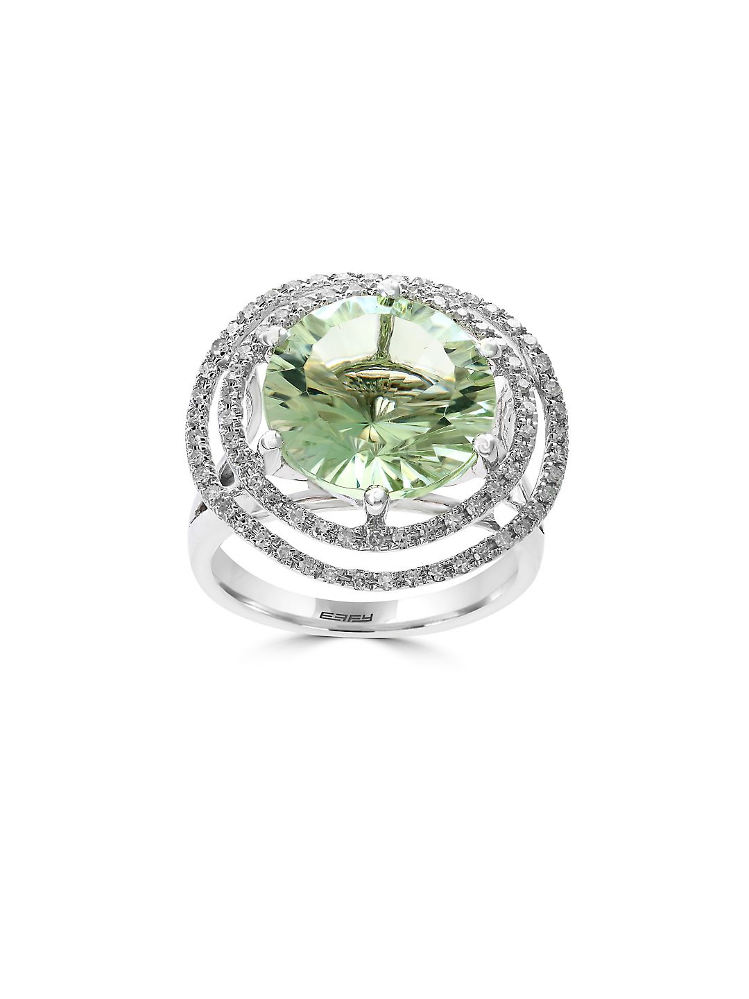 Diamond, Green Amethyst and 14K White Gold