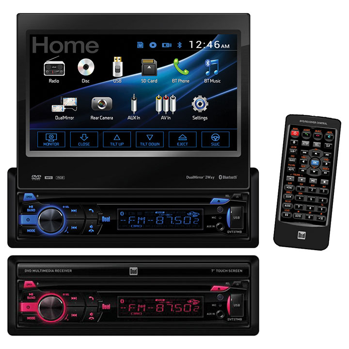 """DUAL Dv737mb 7"""" Single-din In-dash Dvd Receiver With Moto..."""