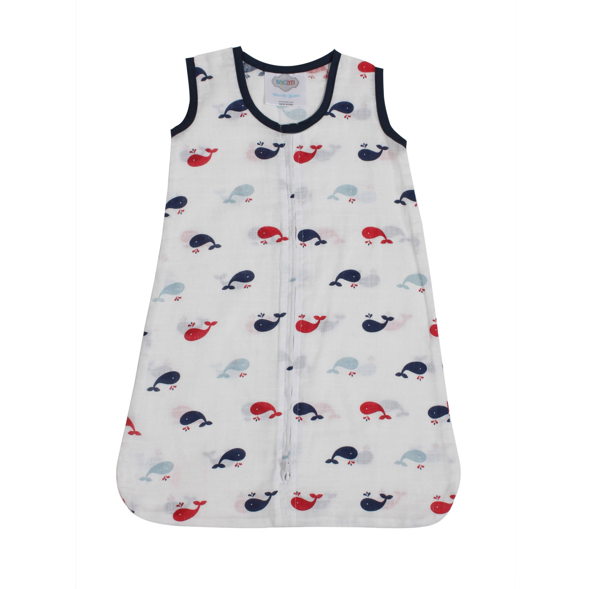 Bacati - Little Sailor Whales Boys 100% Cotton breathable Muslin Sleep Sack (Choose Your Size)
