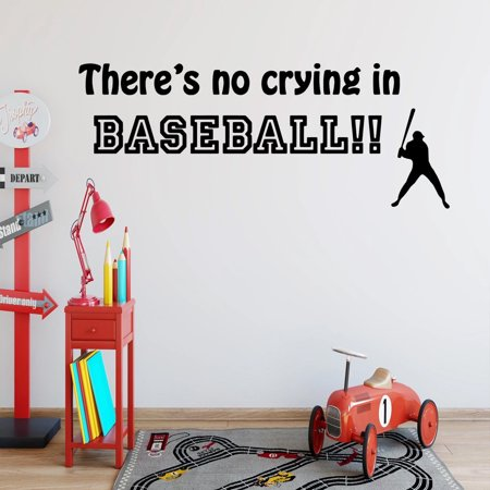 VWAQ There's No Crying in Baseball Sports Wall Decal Saying Vinyl Letters Stickers Baseball Wall Art ()