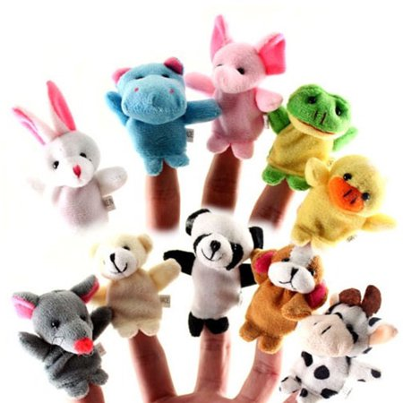 10Pcs Double Foot Animal Finge Puppets Lovely For Kids