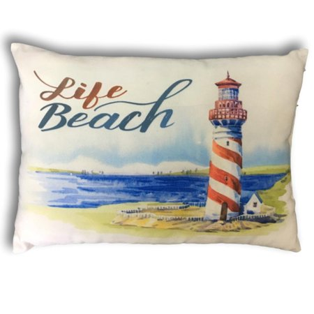 Decorative Throw Pillow Cover Banberry Designs Nautical Beach Theme Small Accent Lighthouse
