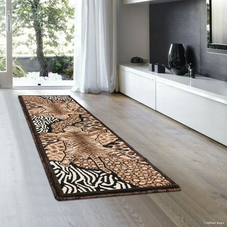 Allstar Black High Density Double Shot Drop-Stitch Carving Exotic Animal Skin and Nature. Safari Woven Area Rug (2' 0