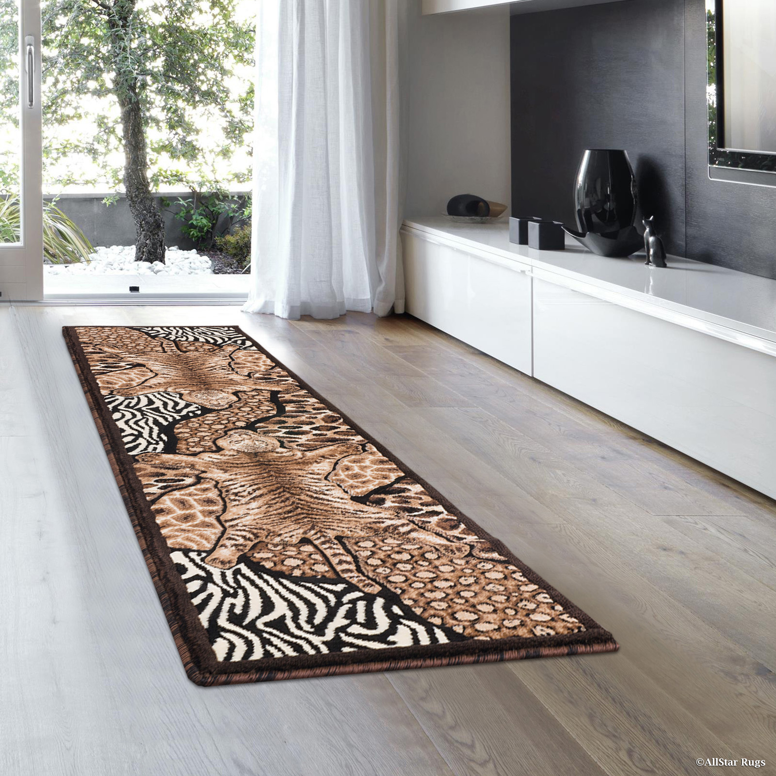 "Allstar Black High Density Double Shot Drop-Stitch Carving Exotic Animal Skin and Nature. Safari Woven Area Rug (2' 0"" x 7' 2"")"