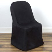 Linen Polyester Folding Wedding Banquet Chair Cover, Black