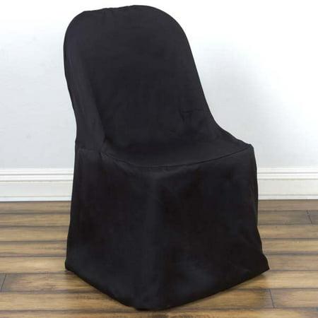 Linen Polyester Folding Wedding Banquet Chair Cover, (Black Slipcover)