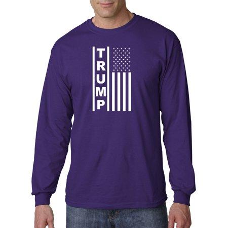 Image of Trendy USA 1241 - Unisex Long-Sleeve T-Shirt Trump Flag Vertical USA America 2XL Purple