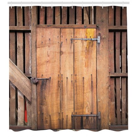 Rustic Shower Curtain Dated Simple Door Like In Construction Vertical Barns House Nobody Bohemian Print Fabric Bathroom Set With Hooks Chocolate
