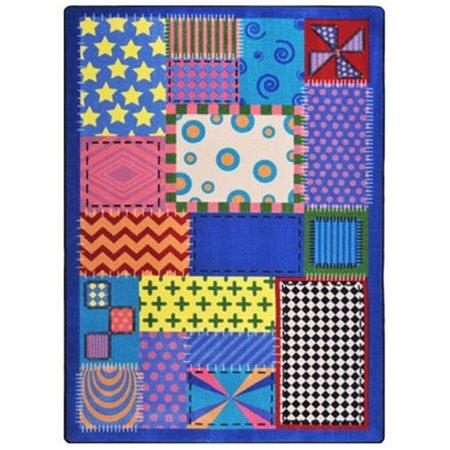 Joy Carpets Kid Essentials Crazy Quilt Blue Area Rug