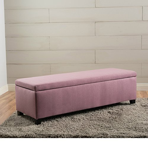 ModHaus Living Modern Fabric Upholstered Storage Ottoman Bench with Solid Wood Legs - Includes Pen (Purple)