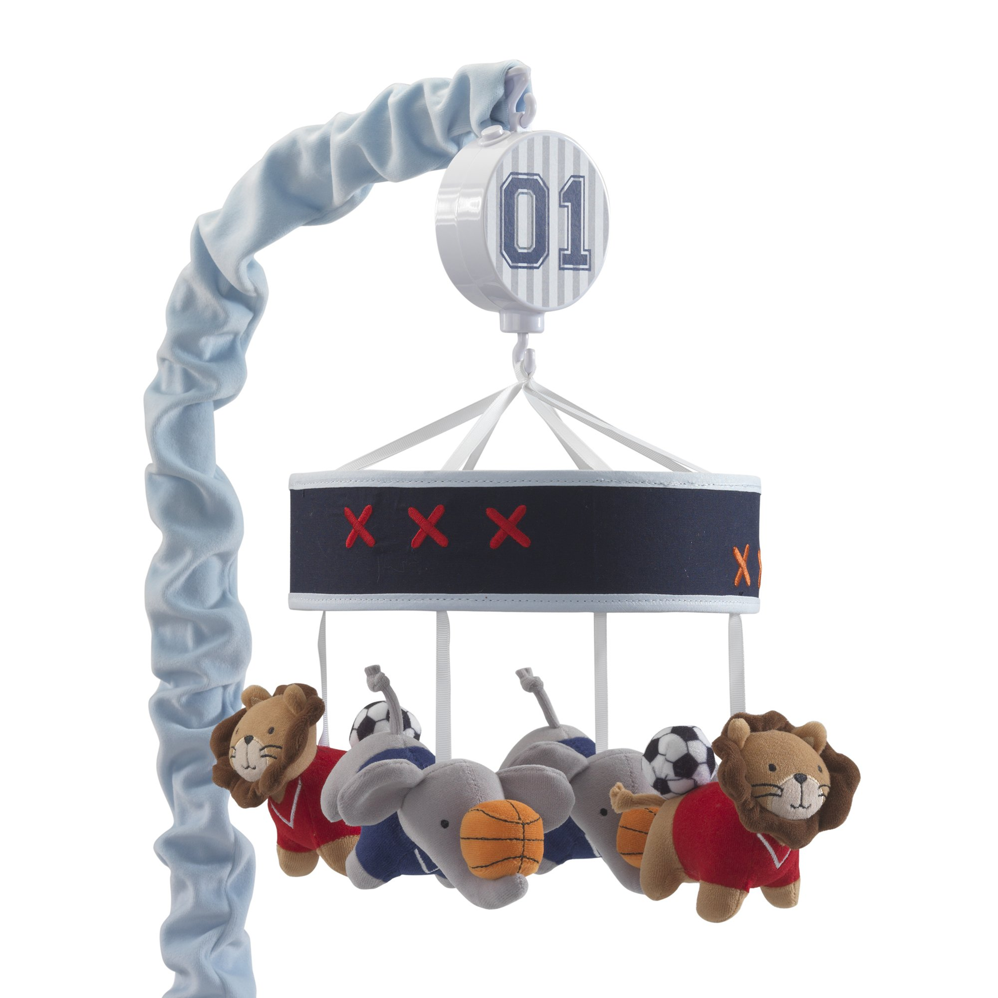 Lambs & Ivy Future All Star Musical Baby Crib Mobile - Blue, Animals, Sports