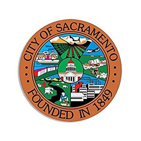 ROUND City of Sacramento Seal Sticker Decal (ca california decal) Size: 4 x 4 inch (Halloween City Sacramento)