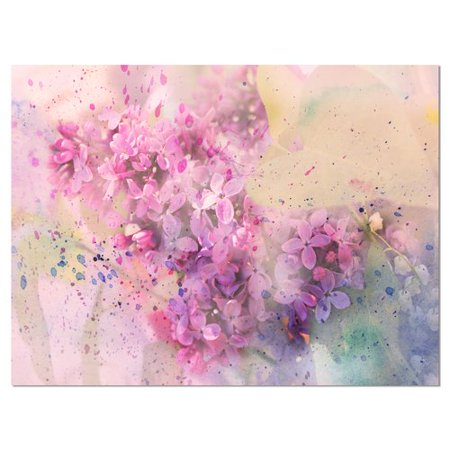 - Design Art Twig of Lilac Flowers Large Floral Graphic Art on Wrapped Canvas