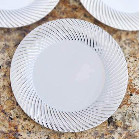 Efavormart 50 Pcs -  Round Disposable Plastic Plate Dinner Plates for Wedding Party Banquet Events - Twirl Collection - Girls Party Place