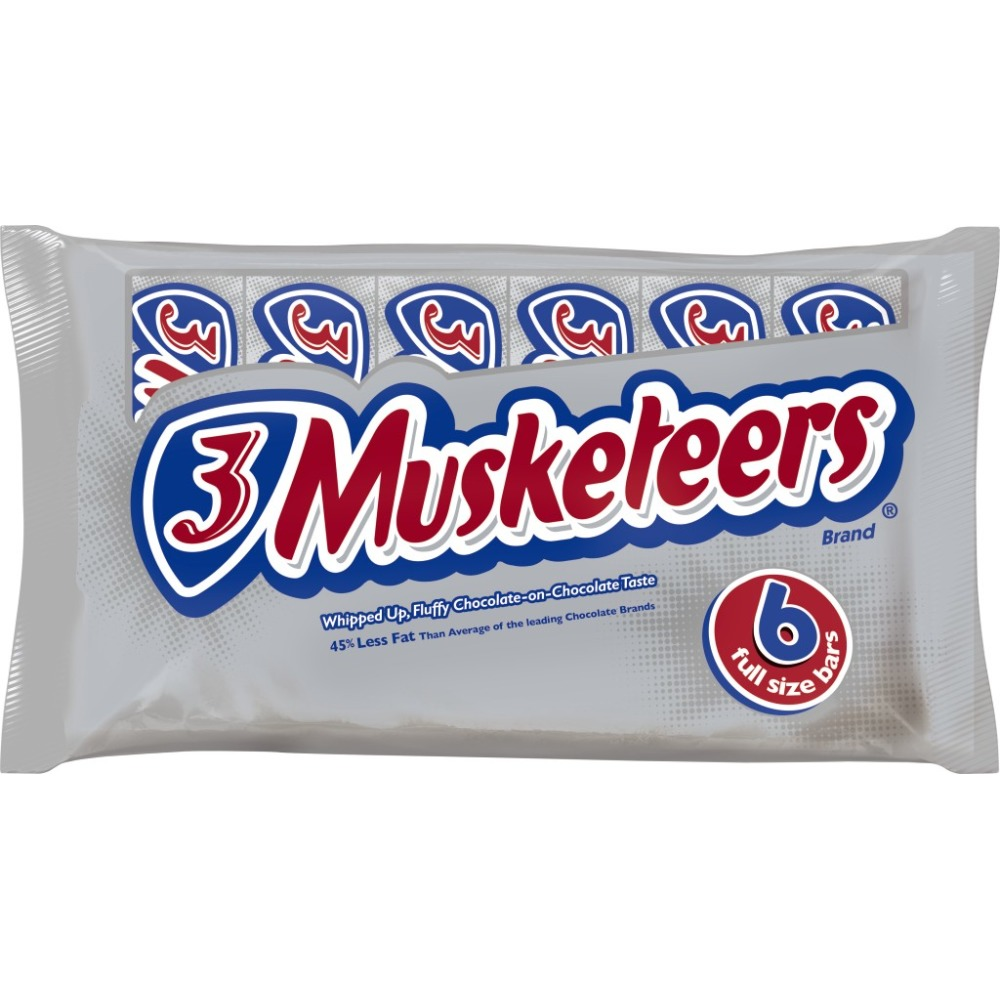 3 MUSKETEERS Chocolate Full Size Chocolate Bars Candy Box, 1.92 oz 6 Pack