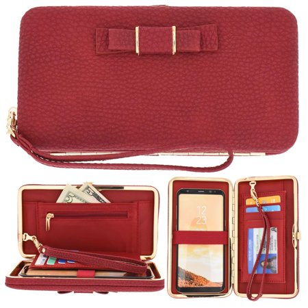 CellularOutfitter Bow Clutch Wallet w/ Hideaway Wristlet - Built-In Card and Money Pockets - Red
