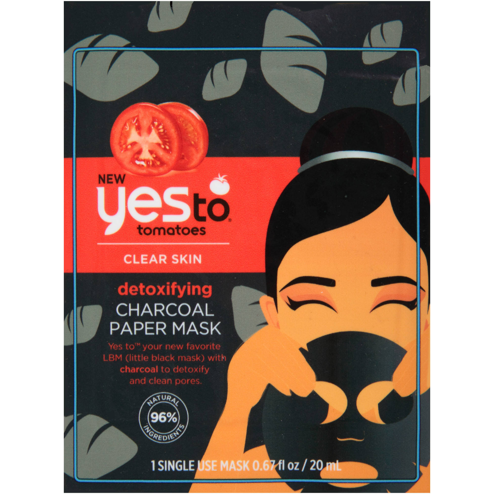 Yes To Tomatoes Detoxifying Charcoal Paper Mask, .67 fl oz