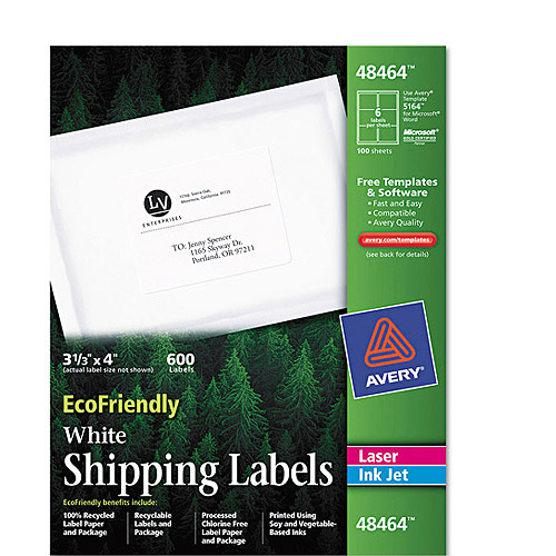 """Avery 48464 Eco Friendly White Shipping Label, 3-1/3"""" x 4"""", 600 Labels/Pack"""