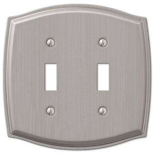 Decor Double Switchplate Cover (Double 2 Toggle Switch Wall Plate Cover - Brushed)