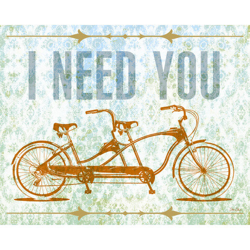 Wheatpaste Art Collective I Need You - Tandem Bike by Fancy That Design House and Co. Painting Print on Wrapped Canvas