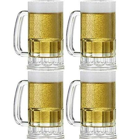 "4 Beer Mugs Made in Mexico Industrial Mexican Jarro de Cerveza Large Grande Vidrio Glass Jarro Tarro Cervecero 5.5"" H x 2.75""W"