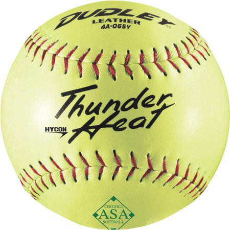 SPALDING SPORTS DIV RUSSELL Dudley Softball, Slow Pitch, Yellow Leather, 12-In. 4A-065YP