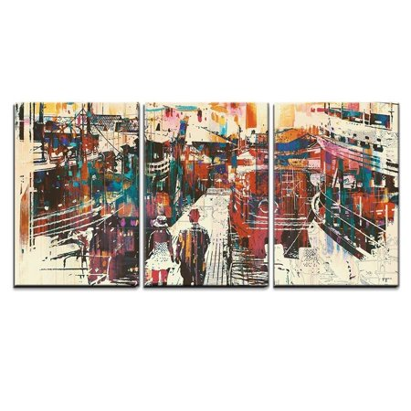 wall26 3 Piece Canvas Wall Art - Couple Walking on Harbor Pier with Colorful Boats,Illustration Painting - Modern Home Decor Stretched and Framed Ready to Hang - 24