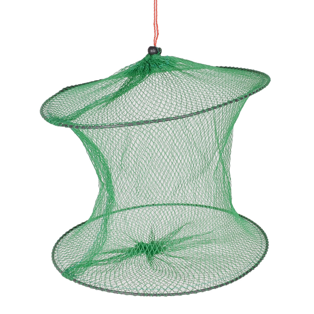 "Unique Bargains 8.6"" 2 Layers Foldable Fishing Landing Net Fish Basket for Fishermen Minnows Green"