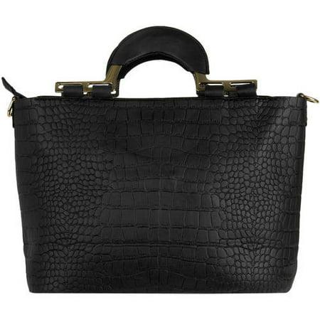 - Women's Samba Over the Shoulder Leatherette Satchel Carrying Hand Bag with Shoulder Strap [Croc Skin Design]
