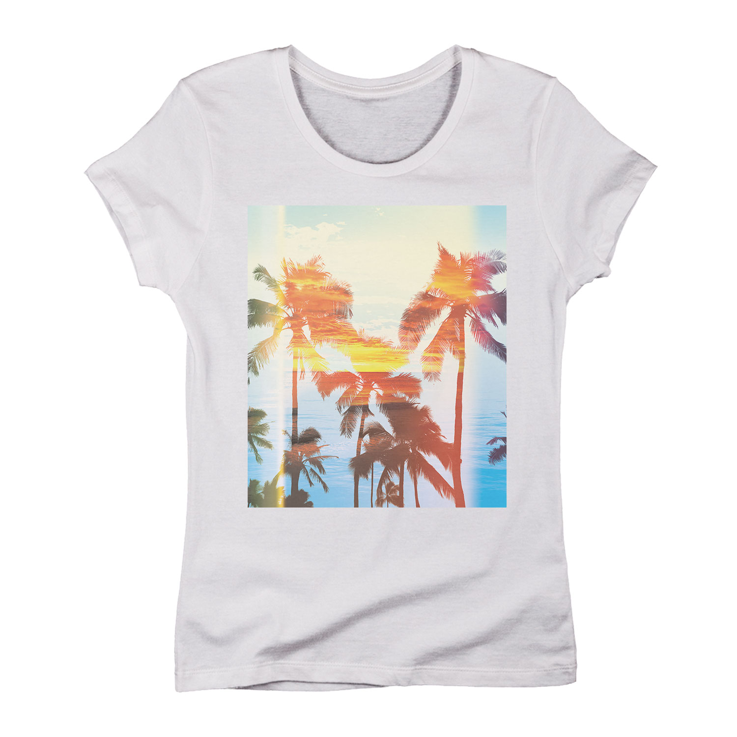 Palm Tree Sunset KORNIT WHITE SHIRT ONLY-Womens LADIES SHORT SLEEVE TEE
