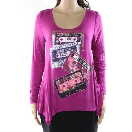 Belle Du Jour NEW Purple Size Small S Junior Scoop-Neck Graphic-Print Blouse (Junior Small Size)