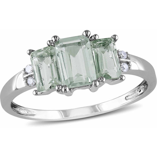 1.07 Carat T.g.w. Green Amethyst And Dia