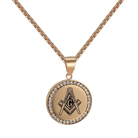 Rose Gold Tone Pendant Masonic G Stainless Steel Lab Created Cubic  Zirconias Box Necklace Charm