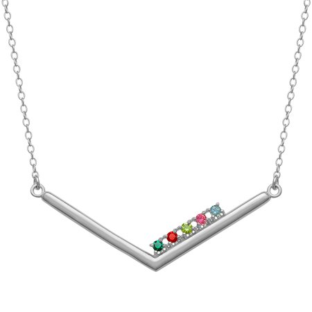 Personalized Women's Sterling Silver or Gold over Silver Family Chevron Birthstone Necklace