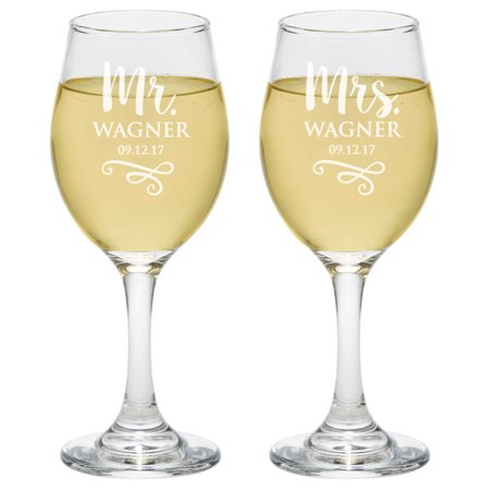 Personalized Glass Set Mr And Mrs Wine