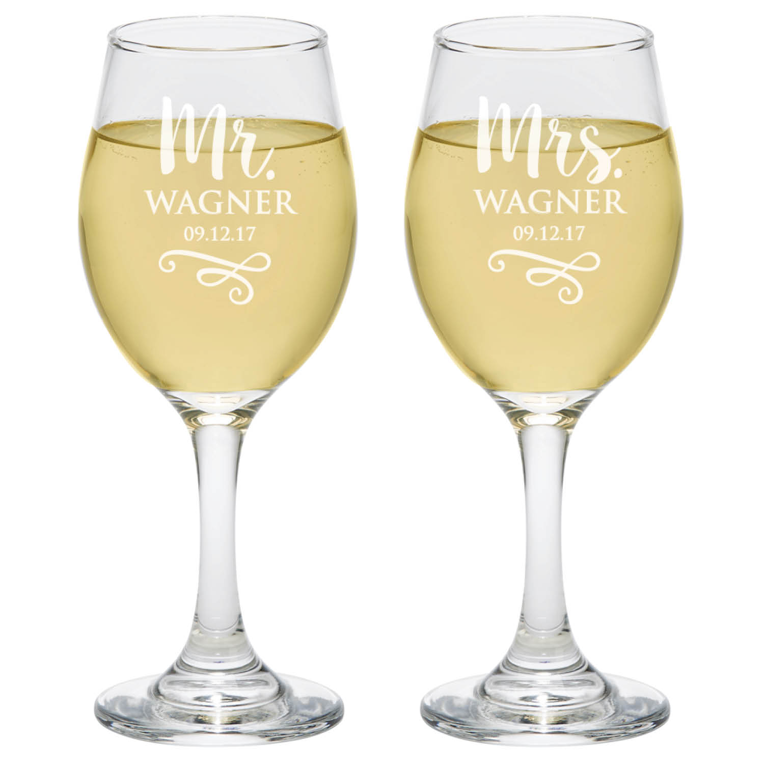 Personalized Glass Set - Mr. and Mrs. Wine