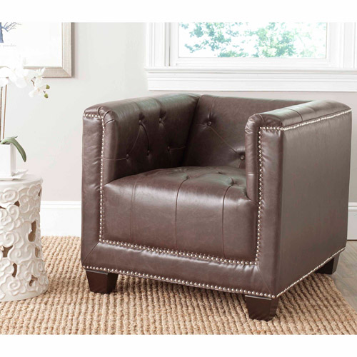Safavieh Bentley Bicast Leather Club Chair, Antique Brown with Silver Nail Heads