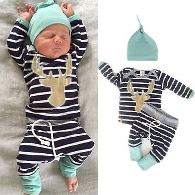 Newborn Baby Girl Boy Clothes Deer Tops T-shirt+Pants Leggings 3pcs Outfits Set (Nautica Newborn Boy Clothes)
