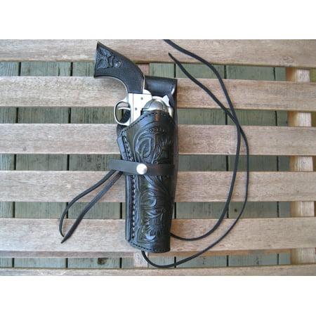 Western Gun Holster - Black - Right Handed - for .38 Caliber single action revolver - Size 6