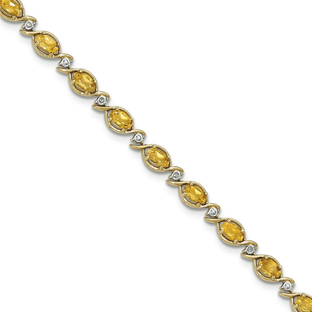 14k Yellow Gold Citrine Diamond Bracelet .05 dwt 3.52 cwt by