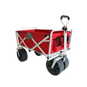 Mac Sports Collapsible Folding All Terrain Outdoor Beach Utility Wagon Cart, Red