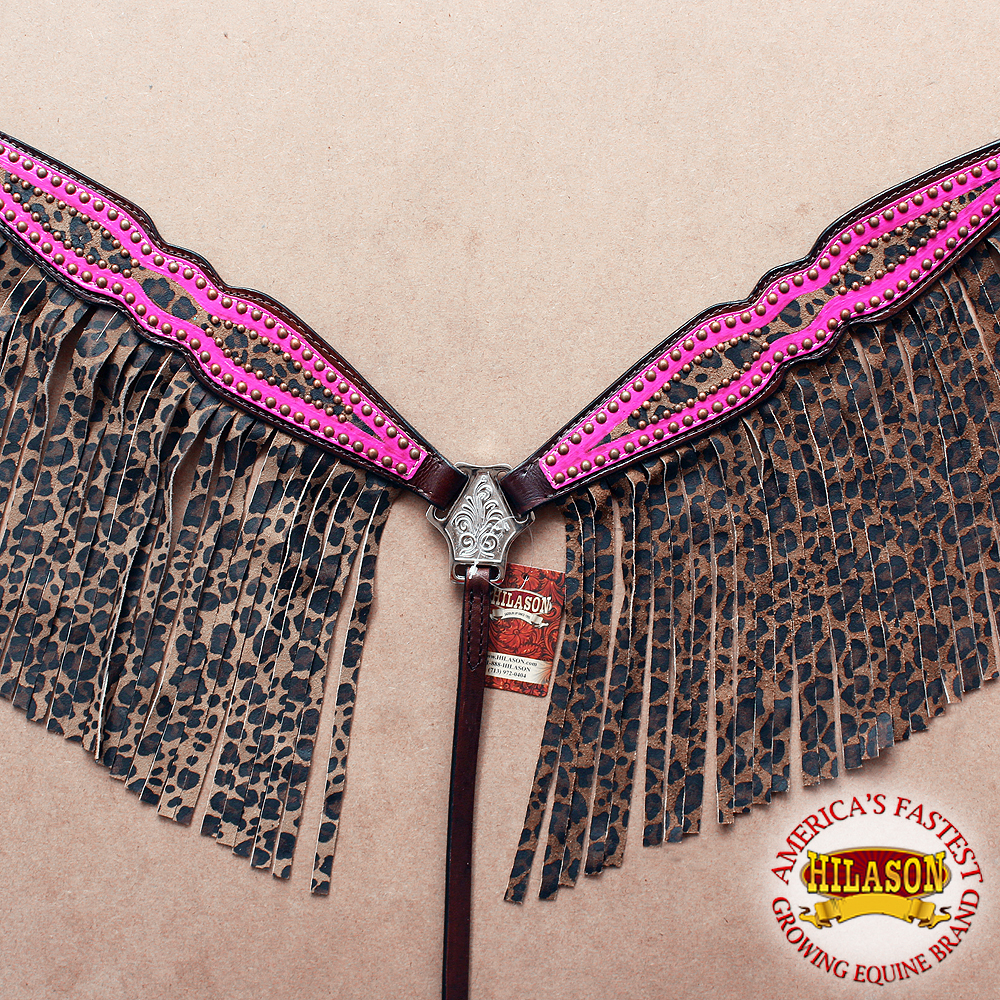 HILASON WESTERN AMERICAN LEATHER HORSE BREAST COLLAR PINK CHEETAH FRINGES