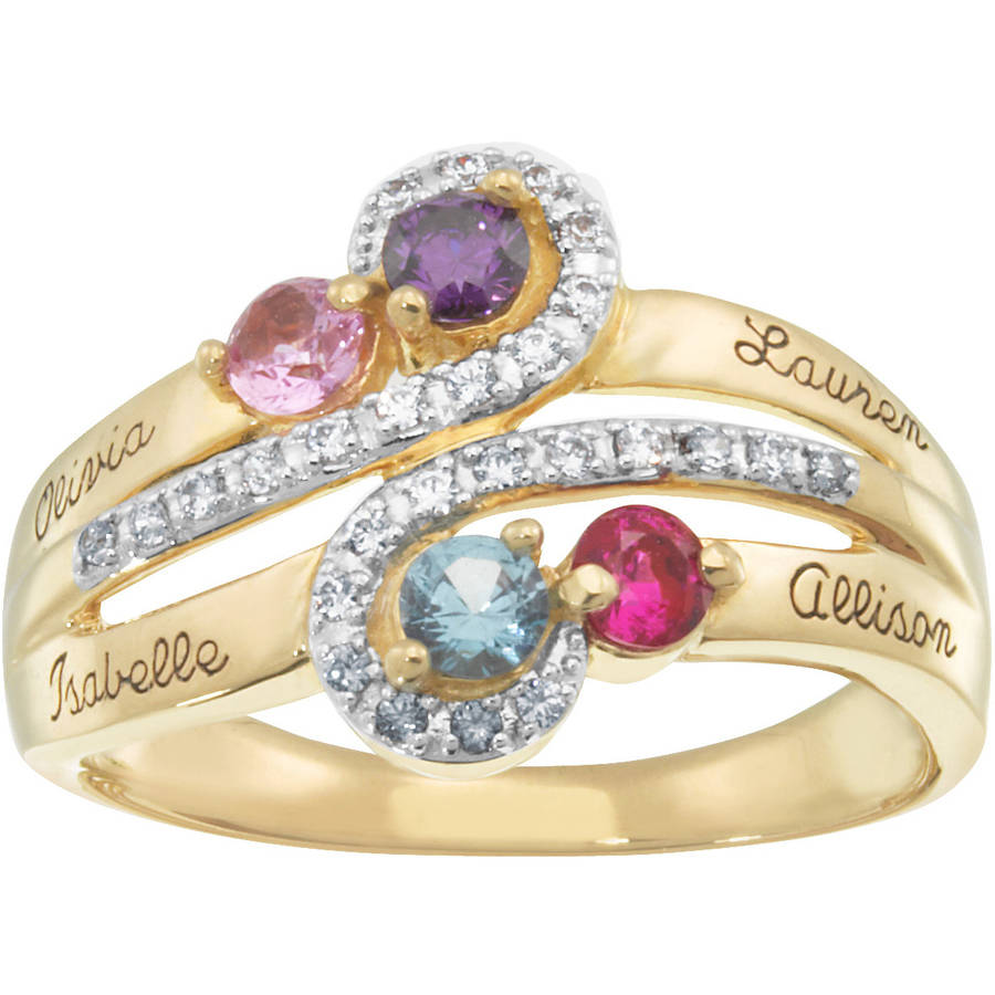 Personalized Keepsake CZ S-Curve Ring