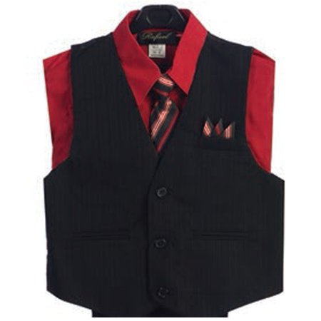 Red Suit For Kids (Red 4 Piece Pin Striped Vest Set Boys Suit)
