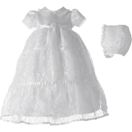 Christening Baptism Newborn Baby Girl Special Occasion Girls Long Triple Tiered Allover Floral Lace Dress With Peter Pan Collar