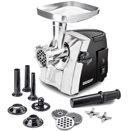 Electric Meat Grinder – Size #8 - Model STX-1200-TFC – STX International Turboforce Cadet – Hideaway Handle – 3 Grinding Plates – 3 Cutting Blades – 3 Sausage Stuffing Tubes – Kubbe Attachment ()